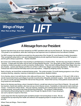 Newsletter cover art, Fall 2015.